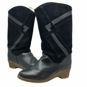 PAJAR leather tall boots sherpa lining black